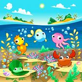 Happy marine family under the sea. Vector and cartoon illustration