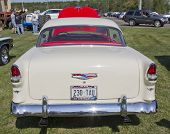 Red White 1955 Chevy Bel Air Rear View