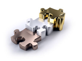 stock photo of bronze silver gold platinum  - Thre jigsaw peices bronze silver and gold as a poduim concept of winning - JPG