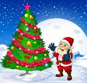 Illustration of a smiling santa beside the giant christmas tree