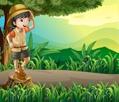 Illustration of a kid above a stump sightseeing