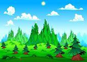 Mountain landscape. Vector cartoon illustration