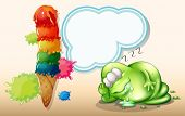 Illustration of a tired monster sleeping near the giant icecream