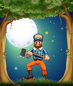 Illustration of a lumberjack at the forest in the middle of the night