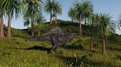 spinosaurus walking across grassy hills