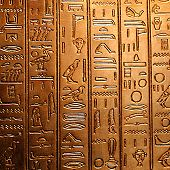 picture of hieroglyphs  - egyptian hieroglyphs on a shiny golden panel - JPG