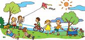 pic of kites  - Children having a good time in sunny summer landscape create by vector - JPG