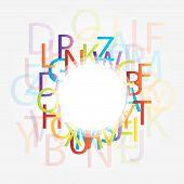Decorative design element with alphabets