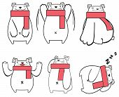 Stylish Digital Polar Bear Funny Icon Set