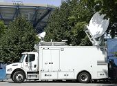 CNN truck in the front of National Tennis Center