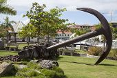 Giant anchor at Gustavia waterfront at St Barts, French West Indies