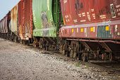 Freight Train Cars On Tracks