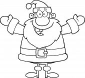 Black And White Happy Santa Claus With Open Arms For Hugging
