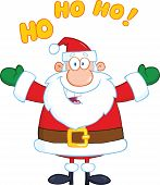 Santa Claus Cartoon Character With Open Arms For Hugging