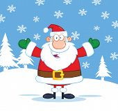 Santa Claus Cartoon Character With Open Arms