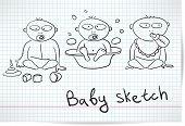 Sketch of three babies