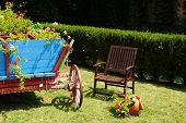 Outdoor Furniture. One Wooden Folding Chair And Cart.