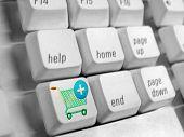Computer Keyboard, Shopping Cart, Concept