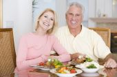 Elderly Couple Enjoying Healthy Meal, Mealtime Together
