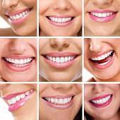 Smiling happy people with healthy teeth. Dental health. Collage.