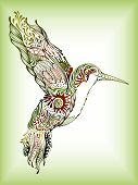 image of jungle birds  - Illustration of hummingbird on abstract design background - JPG