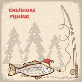 Christmas Fishing Card With Fish In Red Santa Hat.vector Drawing Illustration