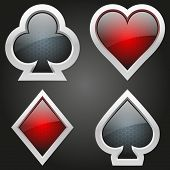 stock photo of joker  - Icons set of four card suits of crystal button - JPG