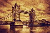 Tower Bridge in London, the UK. Artistic vintage, retro style