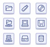 Drives and storage web icons,  light violet glossy buttons