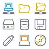 Drive storage web icons, color line contour series