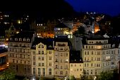 the city of Karlovy Vary at night