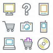 Electronics web icons set 1, color line contour series