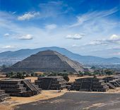 Travel Mexico background - Ancient Pyramid of the Sun. Teotihuacan. Mexico