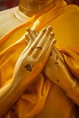 Buddha statue hands in  Vajrapradama Mudra (Mudra of Unshakable Self Confidence). Wat Phra That Doi