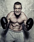 Young sporty man in boxing gloves posing