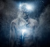 image of loneliness  - Man with conceptual spiritual body art - JPG