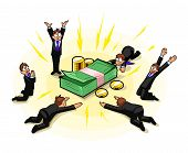 stock photo of bundle money  - A group of businessmen is worshiping to money as an idol or god - JPG