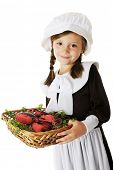 foto of lobster  - An adorable young Pilgrim girl carrying a basket of lobster  - JPG