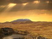 Sunny rural landscape in Scotland