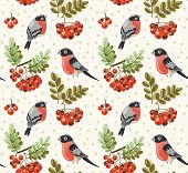 Seamless autumn and winter pattern with bullfinch and rowan branches