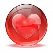 3D Glass Sphere Heart Icon