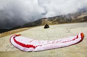 Paragliders Are Preparing To Fly From Mount Tahtali, Turkey, Kemer