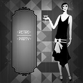 stock photo of hair bow  - Retro party background with beautiful girl of 1920s style - JPG