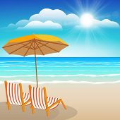 Chairs, Umbrella, Sand And Sea.