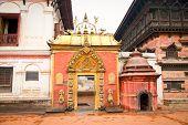 Golden gate on Taleju Chowk on Durbar Square in Bhaktapur, Kathmandu valey, Nepal.
