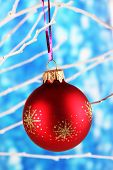 Christmas toy hanging on branch on blue background