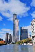 picture of willy  - Chicago city downtown urban skyline with skyscrapers over Lake Michigan with cloudy blue sky - JPG