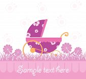 image of newborn baby girl  - Baby Girl Card for newborn celebration and greeting card - JPG
