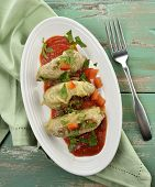 Stuffed Cabbage With Tomato Sauce, Top View
