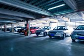 stock photo of basement  - Parking garage - JPG